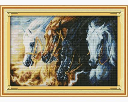 ide_D140 набор для вышивания Вышивка крестиком Идейка Непокорные кони (D140) Идейка