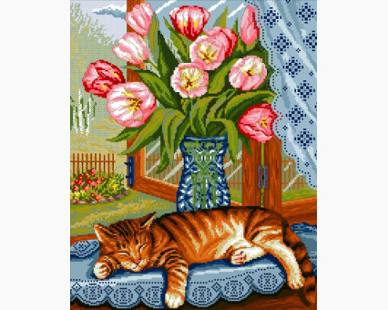 ide_D369 набор для вышивания Картина вышивка крестом Идейка Ленивый кот (D369) Идейка