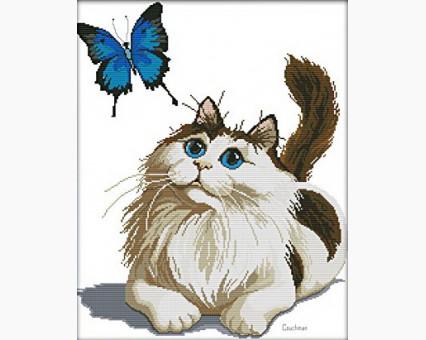 ide_D370 набор для вышивания Набор для вышивания Идейка Кот и бабочка (D370) Идейка
