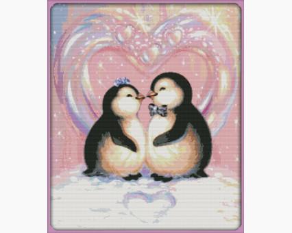 ide_D433 набор для вышивания Набор для вышивки Идейка Любовь пингвинов (D433) Идейка