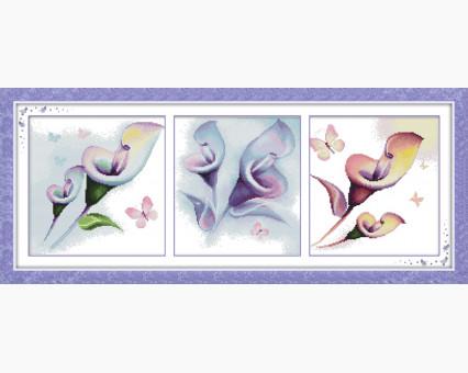 Вышивка крестом Идейка Триптих. Разноцветные цветы (H191) Триптих