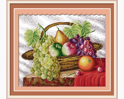 ide_J005 набор для вышивания Вышивка крестом Идейка Корзина с фруктами (J005) Идейка