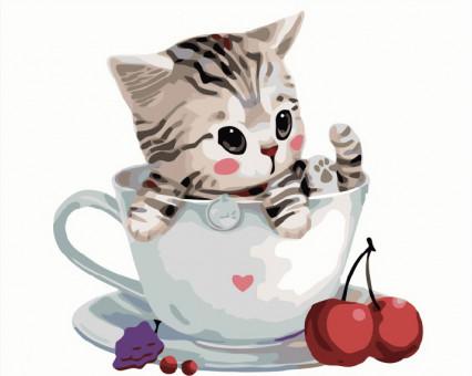 BK-GX8396 Картины по номерам для детей Котик в чашке Brushme