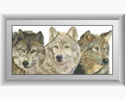 Набор алмазная вышивка Dream Art Три волка (квадратные камни и полная зашивка)