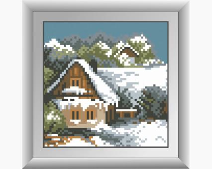 Картина из страз Dream Art Зимний домик (квадратные камни и полная зашивка)