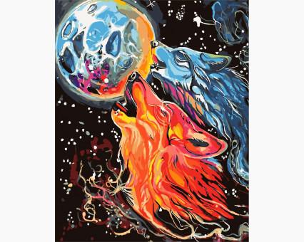 KH4007 Картина раскраска Космические волки Идейка
