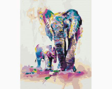 KHO4010 картина по номерам без коробки Радужные слоны Идейка