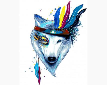 KHO4019 картина по номерам без коробки Белая волчица Идейка