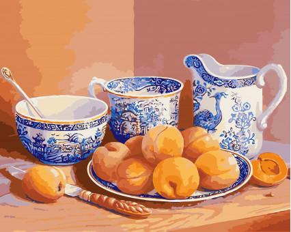 KHO5512 картина по номерам без коробки Натюрморт с абрикосами и старинным сервизом Идейка