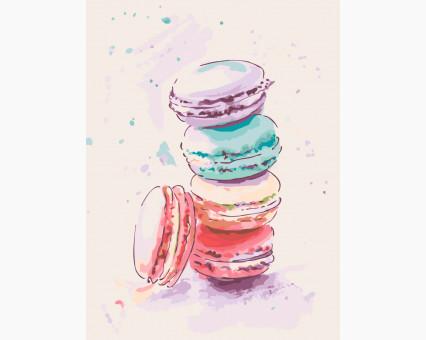KHO5516 Картина раскраска без коробки Аппетитные макаруны Идейка