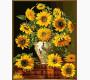 NB946R Картина по номерам Подсолнухи в вазе с павлинами (в раме) Babylon