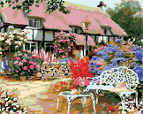 картина раскраска цветущий сад - фото