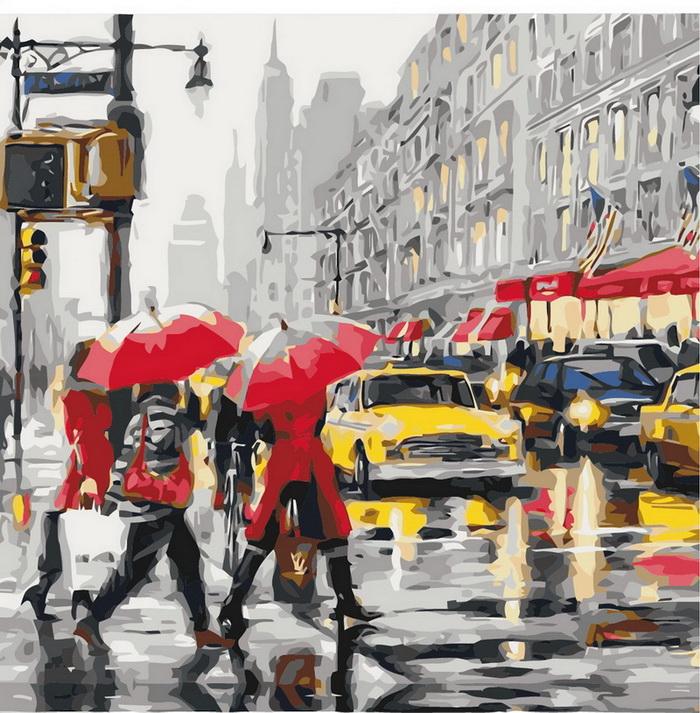 Картина осень в Нью Йорке