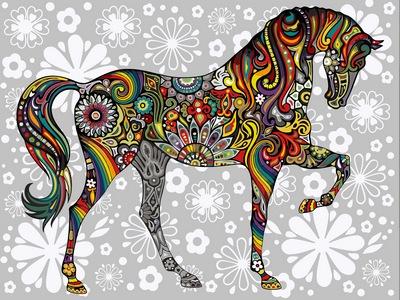 Картина по номерам цветочный конь