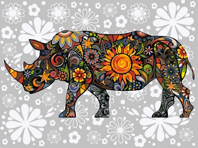 Картина по номерам цветочный носорог