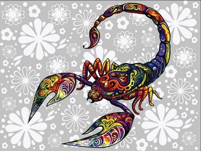 Картина по номерам цветочный скорпион