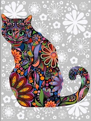Картина по номерам цветочный кот