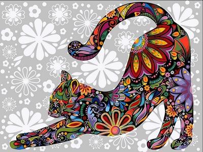 успокаивающая раскраска цветочная кошка - фото