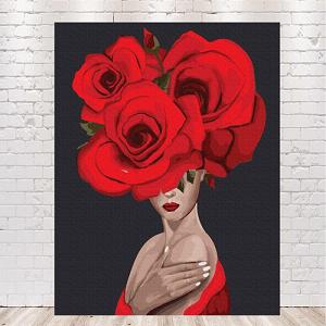 картина по номерам девушка с розами на голове купить