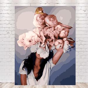 картины по номерам девушка с цветами на голове автор Эми Джадд