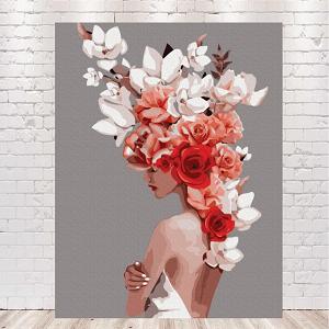 девушка с розами на голове картина по номерам купить