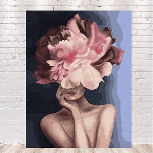 картина по номерам девушка с цветами на голове купить в Украине