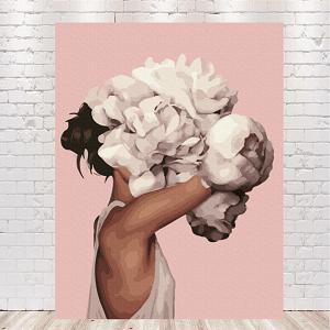 девушка с пионами на голове картины по номерам заказать в киеве