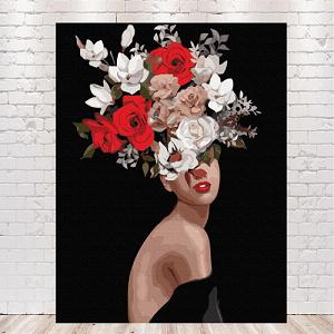 картина девушка с цветами на голове автор