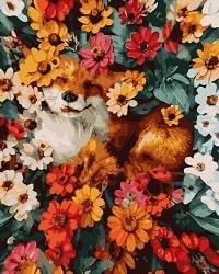 Картина по номерам Лиса в цветах