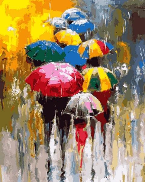 Mariposa - раскраска по номерам разноцветные зонтики