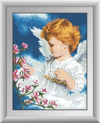 картина из страз ангел с цветами