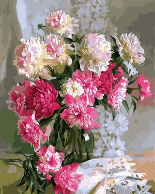 Картина-раскраска с изображением королевских пионов
